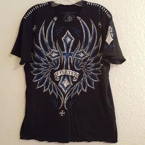 Affliction Live Fast Men's Black Frayed tshirt SzL